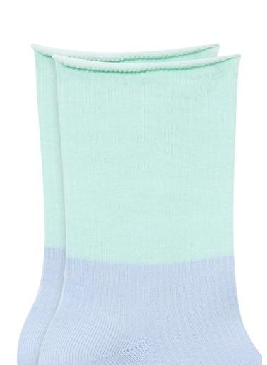 Mavi Blok Renkli Mavi Soket Çorap Mavi